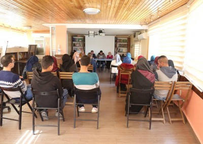 A discussion panel about forced migration in Jerusalem at Burj Al-Luqluq Social Center Society