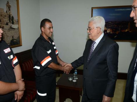 The Palestinian President Receives Burj Al-Luqluq First-Aid Unit